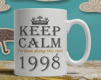 Keep Calm 20th Birthday Mug Idea Born 1998 Gift 20 Years Old Happy EB