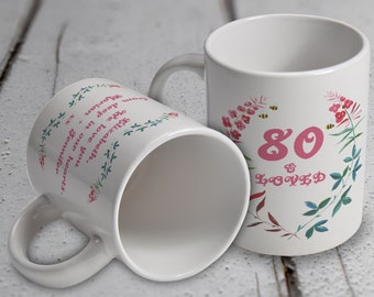 80th Birthday Gift Floral Mug Pink Red Green And Blue Watercolor Meadow Flowers Bees Personalize With Your Own Message On The Rear