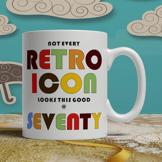 70th Birthday Gift Idea Print Mug Happy Seventieth Celebration