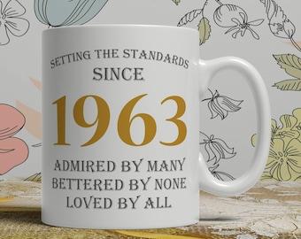 Setting standards, 55th Birthday mug, 55th birthday idea, born 1963 birthday, 55th birthday gift, 55 years old, Happy Birthday, EB 1963 Grey