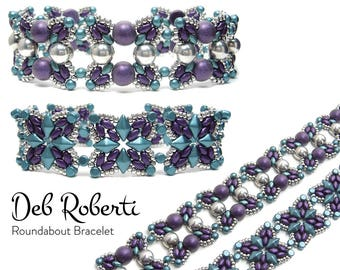 Roundabout Bracelet and Earrings beaded pattern tutorial by Deb Roberti