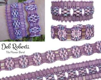 Tila Flower Bands beaded pattern tutorial by Deb Roberti