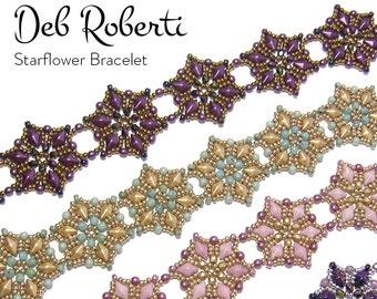 Starflower Bracelet beaded pattern tutorial by Deb Roberti