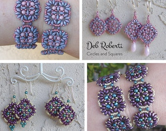 Circles and Squares beaded pattern tutorial by Deb Roberti