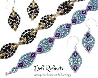 Marquise Bracelet & Earrings beaded pattern tutorial by Deb Roberti