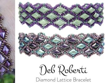 Diamond Lattice Bracelet beaded pattern tutorial by Deb Roberti