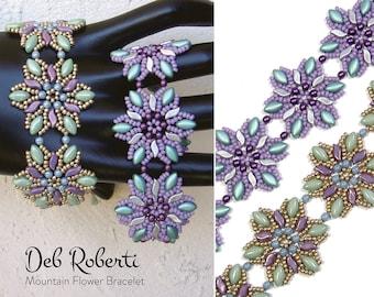 Mountain Flower Bracelet beaded pattern tutorial by Deb Roberti