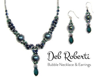 Bubble Necklace and Earrings beaded pattern tutorial by Deb Roberti