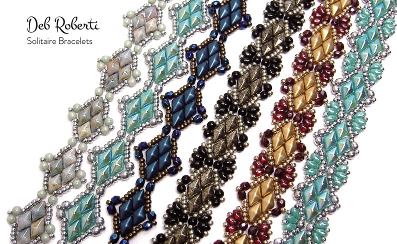 Solitaire Bracelets beaded pattern tutorial by Deb Roberti image 0