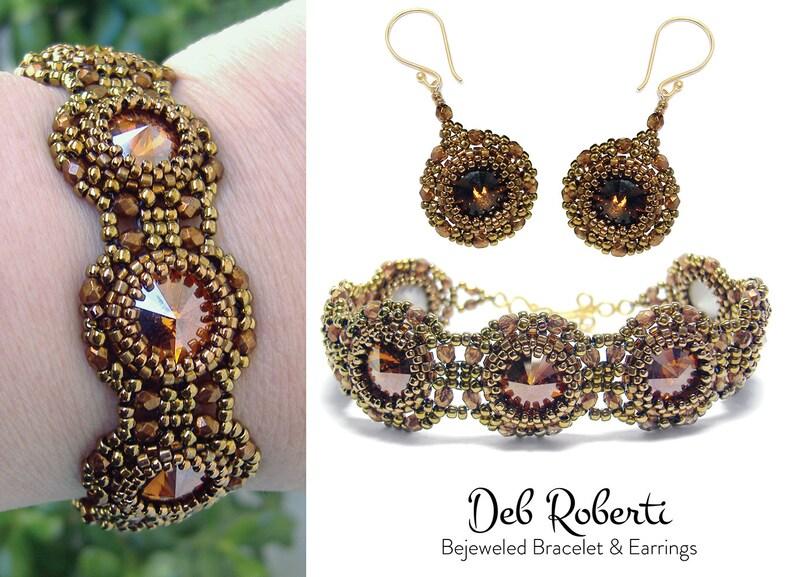 Bejeweled Bracelet & Earrings beaded pattern tutorial by Deb image 0