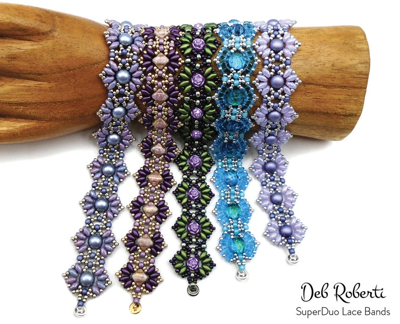 SuperDuo Lace Bands beaded pattern tutorial by Deb Roberti image 0