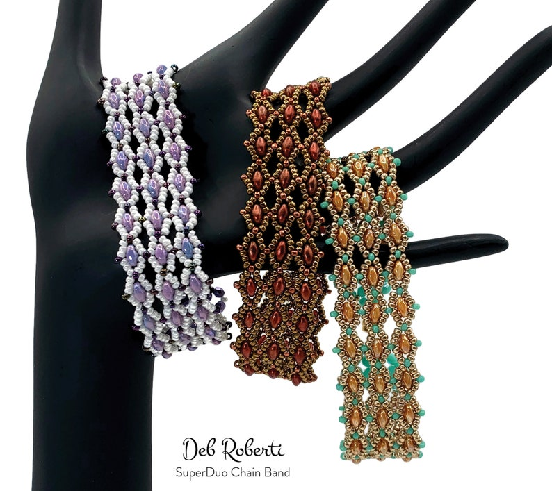 SuperDuo Chain Band beaded pattern tutorial by Deb Roberti image 0