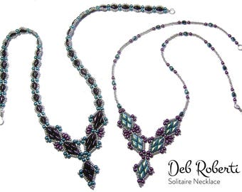 Solitaire Necklace beaded pattern tutorial by Deb Roberti