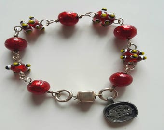 Red Murano Silver Foil Glass Bead and Lamp Work Beaded Bracelet with Sterling Silver