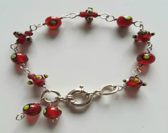 Red Lamp Work Beaded Bracelet with Sterling Silver