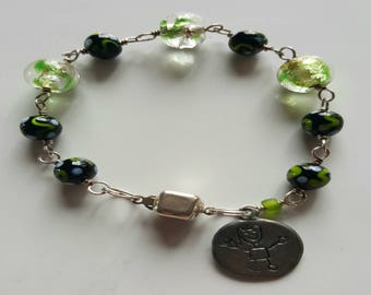 Green Murano Silver Foil Glass and Lamp Work Beaded Bracelet with Sterling Silver