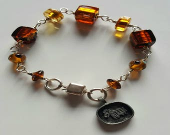 Brown and Amber Murano Silver Foil Glass Beads and Lamp Work Beaded Bracelet with Sterling Silver