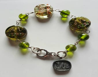 Green Lamp Work Beaded Bracelet with Sterling Silver