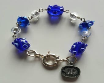 Blue and Silver Murano Silver Foil Glass Bead and Lamp Work Beaded Bracelet with Sterling Silver