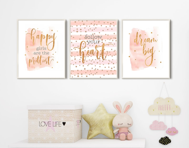 Room Decor Teen Girls Nursery Wall Art Set 3 Prints Pink Gold Dorm Room Decor Girls Bedroom Decor Rose Gold Quote Prints Download Printable