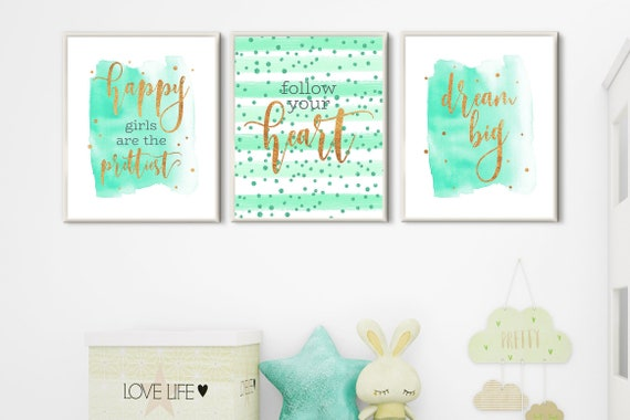 room decor teen girls nursery wall art set 3 prints mint gold dorm room  decor girls bedroom decor rose gold quote prints download printable