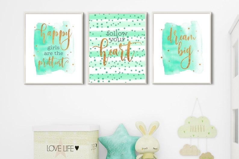 Room decor teen girls nursery wall art set 3 prints mint gold | Etsy