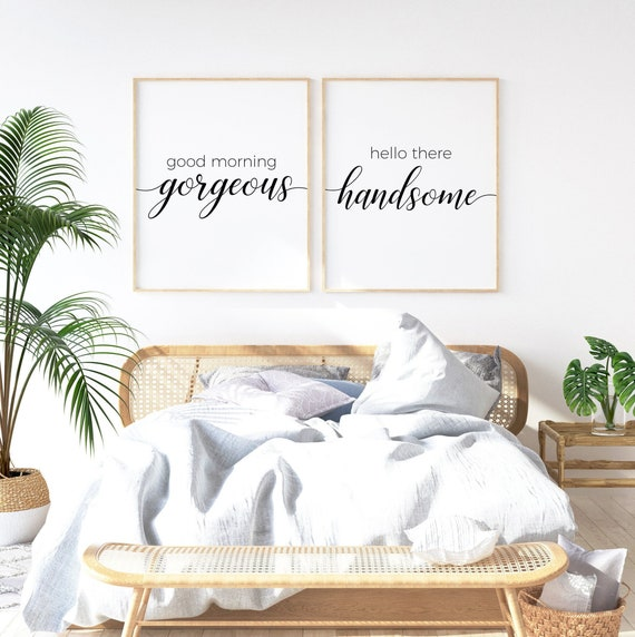 Bedroom Wall Art Set Of 2 Prints Bedroom Decor Couple Good Etsy