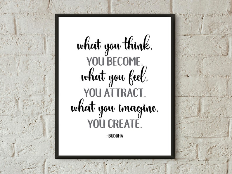 Buddha Quote Poster What You Think You Become Digital Download Etsy