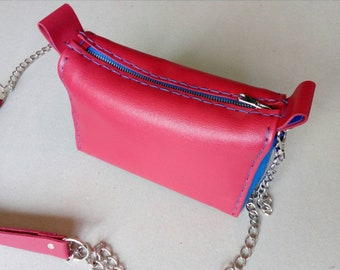 Mini leather bag in red and blue