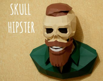 SKULL HIPSTER PDF Template For Print Instruction Papercraft Skull Paper Wall Decor New Diy Pattern