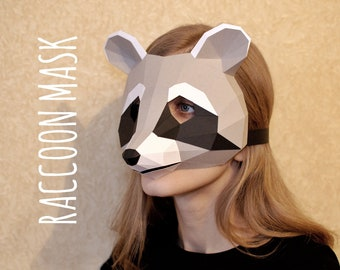 PAPERCRAFT RACCOON MASK Racoon Diy Paper Mask Raccoon Costume Papercraft Template Origami 3d Pdf Pattern