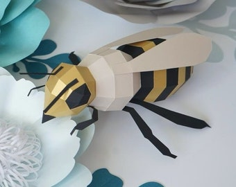 PAPERCRAFT WALL BEE / paper bumblebee diy  / honey bee paper decor / papercraft template / pdf pattern / wall decor kid's room / diy Cut Bee