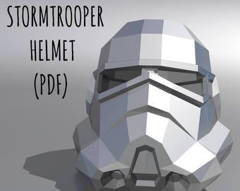 Stormtrooper Helmet Template Instruction Printable Mask PDF Kit Star Wars 3D Origami DIY Gift