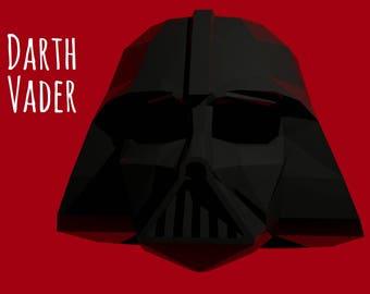 Darth Vader Helmet Template For Print Instruction Star Wars Mask Printable PDF Pattern 3D Origami Paper Halloween