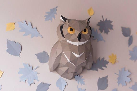 owl template pdf instruction filin eagle owl nighthawk etsy