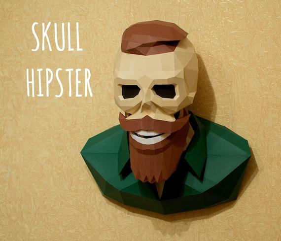 Skull Hipster Pdf Template For Print Instruction Etsy