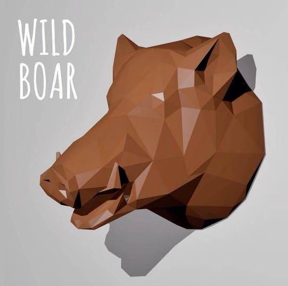 Trophy Wild Boar Papercraft Template Wall Paper Sculpture
