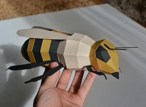 PAPERCRAFT WALL BEE  paper bumblebee diy   honey bee paper decor  papercraft template  pdf pattern  wall decor kid/'s room  diy Cut Bee