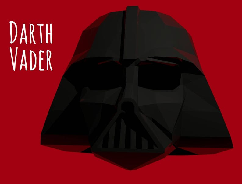 photo regarding Darth Vader Printable Mask called Darth Vader helmet (template for print education) / Star Wars mask / Printable Mask / PDF Practice 3D Origami / Paper Halloween Mask