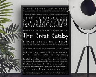 wall art print The Great Gatsby Quote Print, Literary Art Poster, wall decor, F Scott Fitzgerald book bedroom decor, Black & White Art
