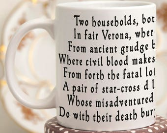 Romeo and Juliet Quotes Mug, Shakespeare Gifts Mug with Quote, Coffee Mug with Shakespeare Quote