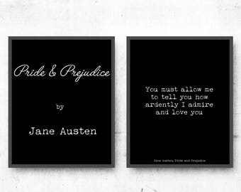 Set of 2 Prints Jane Austen Wall Art, Pride and Prejudice Art Print, romantic quote, Black & White Literary poster gift, romantic wall print
