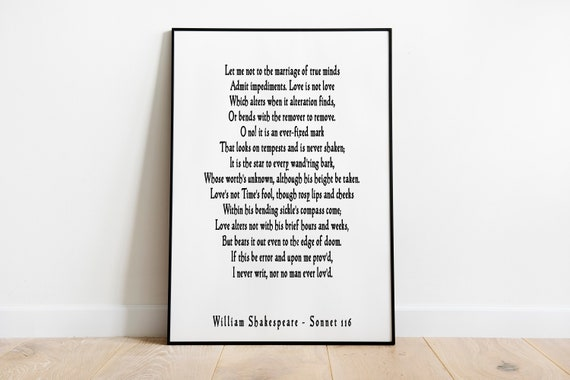 Sonnet 116 Shakespeare Liebe Gedicht Zitat Druck Ehe Der Etsy