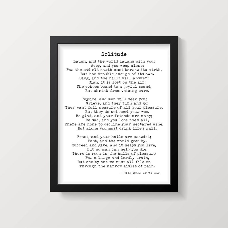 Laugh And The World Laughs With You Ella Wheeler Wilcox Poem Print,  Literary Gift Print, Poetry Print, Unframed