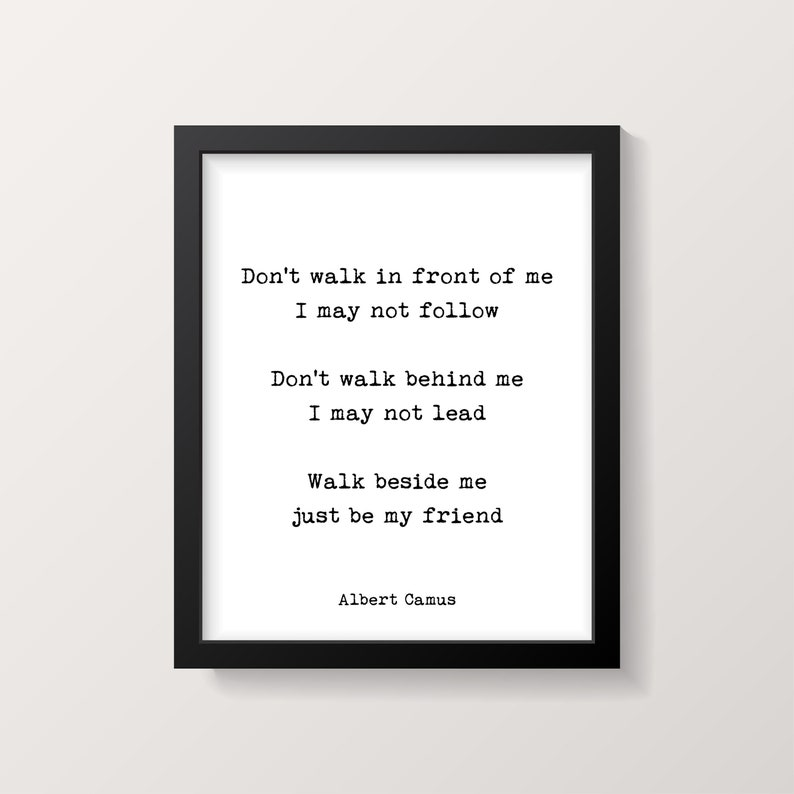 Albert Camus Quote Art Print Dont Walk In Front Of Me Black Etsy