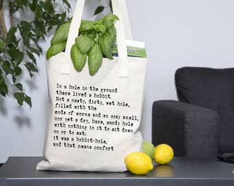 Hobbit Tote Bag, JRR Tolkien book quote tote bag, Lord of the Rings Shopper Bag, eco grocery bag, LOTR tote bag, Market Canvas Bag,