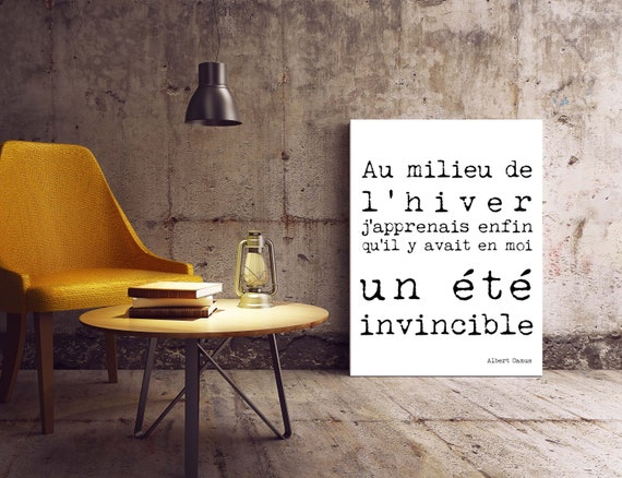 Albert Camus Quote Print in French Bedroom Decor, Office Decor, Invincible  Summer wall art print, Inspirational Unframed wall art Home Decor