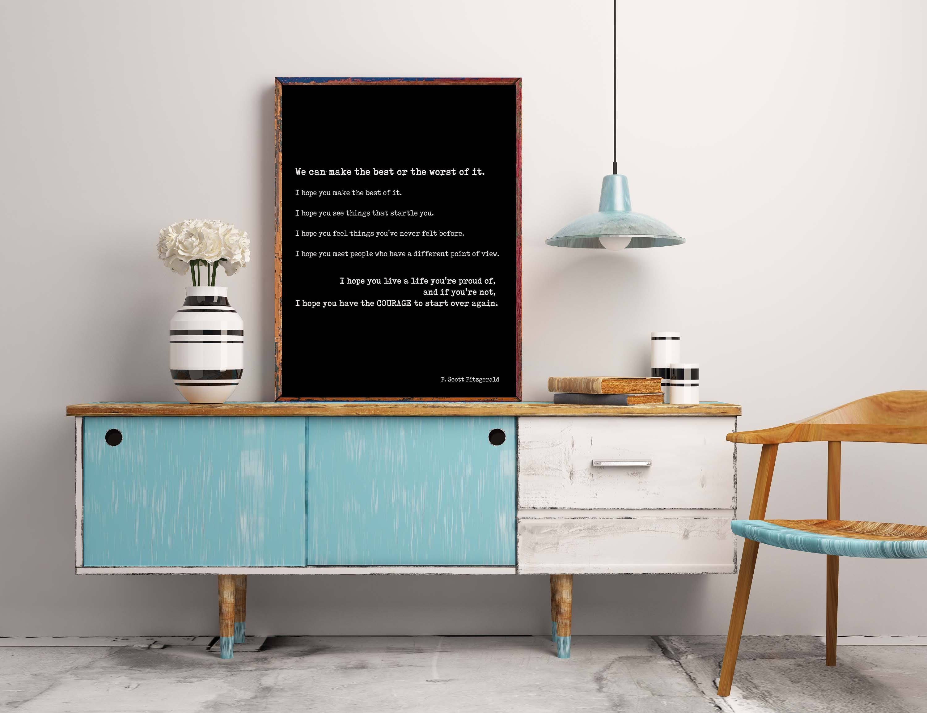 Scott Fitzgerald Quote Inspirational Print Life Quote Etsy