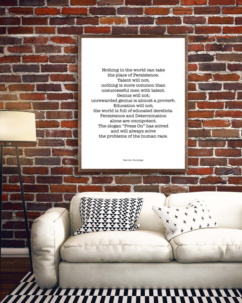 Calvin Coolidge Presidential Quote Print Persistence image 0