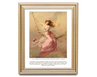 Rainer Maria Rilke inspirational quote, unframed Edouard Bisson fine art prints - the swing, perhaps many things inside you